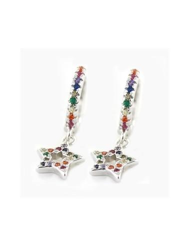 """Aros plata """"estrellas multicolor""""..."""
